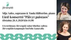 """LIVESTRIIMAUS: sopraano Silja Aalto ja pianisti Tuula Hällström - Lied konsertti """"Päivyt paistaos"""""""